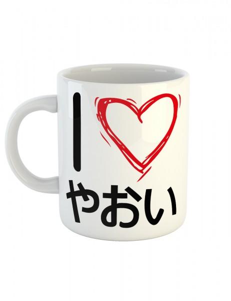 clothinx Kaffeetasse mit Aufdruck I Love Yaoi