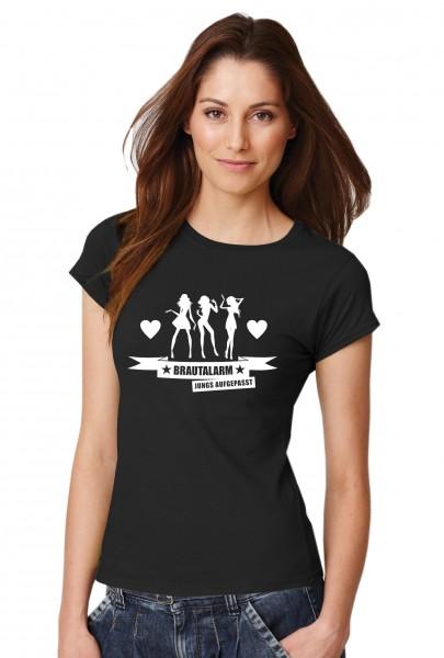 ::: BRAUTALARM - JUNGS AUFGEPASST ::: T-Shirt Junggesellenabschied ::: Damen