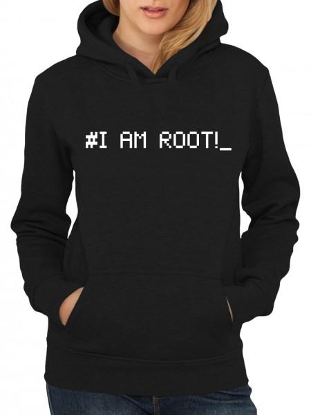 clothinx Damen Kapuzenpullover Programmierer I am Root