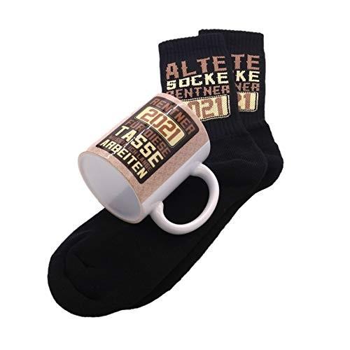 clothinx Rentner 2021 Tasse und Socken mit Spruch ideal Für Die Verabschiedung Pension Und Rente (