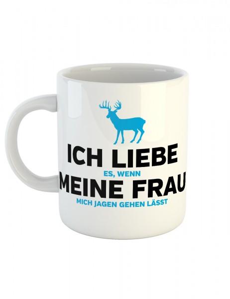 clothinx Kaffeetasse mit Aufdruck Ich Liebe Es Wenn Meine Frau Mich In Ruhe Jagen Lässt