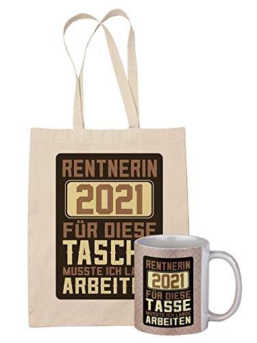 clothinx Rentnerin 2021 Tasche und Tasse mit Spruch ideal Für Die Verabschiedung Pension Und Rente (