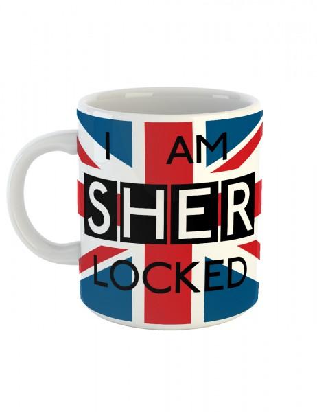 clothinx Kaffeetasse mit Aufdruck I Am Sherlocked Union Jack Flag