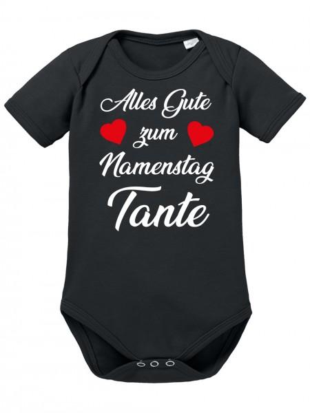 Clothinx Alles gute zum Namemstag, Tante Baby Body Bio Schwarz Gr. 50-56