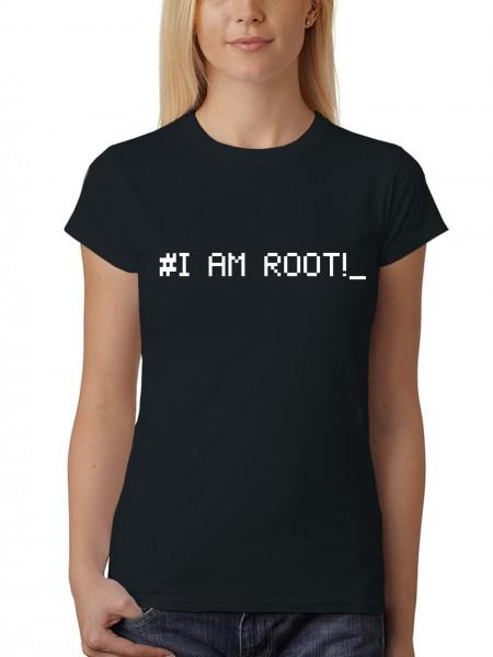 clothinx Damen T-Shirt Programmierer I am Root