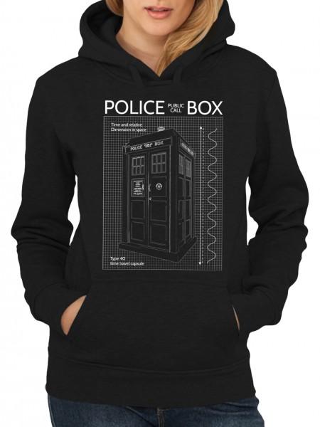 clothinx Damen Kapuzenpullover Police Box Blueprint