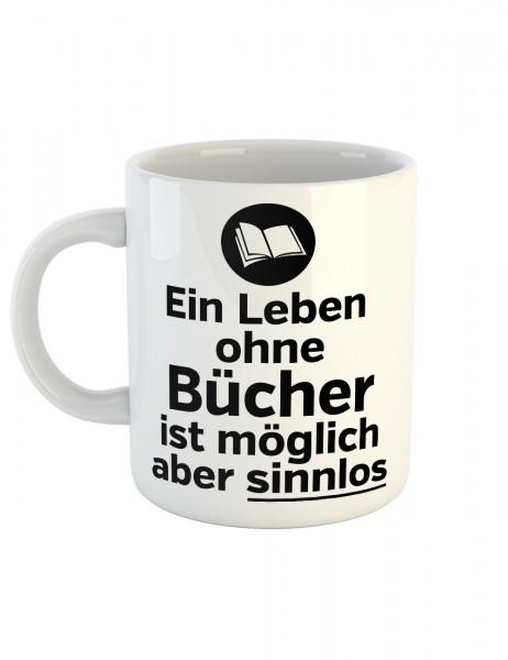 clothinx Kaffeetasse mit Aufdruck Ein Leben Ohne Bücher Ist Möglich Aber Sinnlos