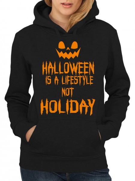 clothinx Damen Kapuzenpullover Halloween Is A Lifestyle Not A Holiday