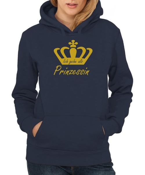 -- Ich gehe als Prinzessin -- Girls Kapuzenpullover, Motiv Gold