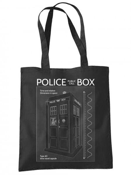 clothinx Einkaufstasche Police Box Blueprint