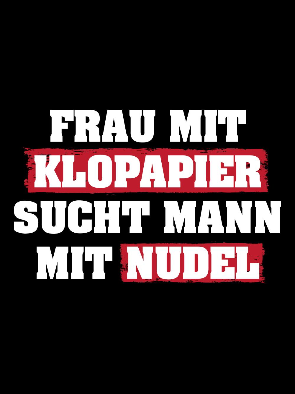 Frau Mit Klopapier Sucht Mann Mit Nudel