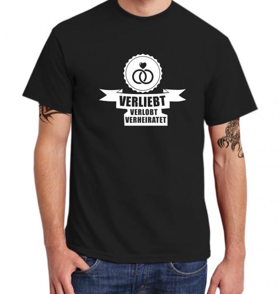 ::: VERLIEBT, VERLOBT, VERHEIRATET ::: T-Shirt Junggesellenabschied ::: Herren