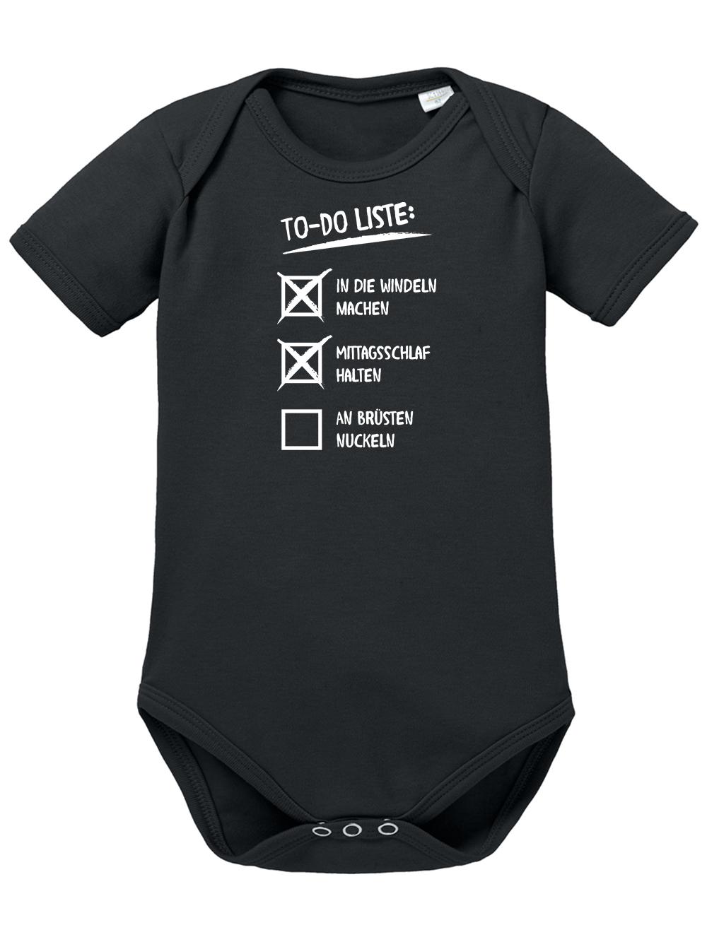 Clothinx Baby To Do Lustiges Geschenk Auch Zur Geburt Und Taufe Baby Body Bio Schwarz Gr 50 56 Clothinx