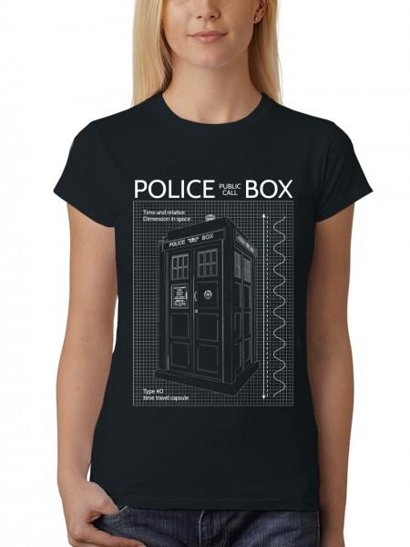 clothinx Damen T-Shirt Police Box Blueprint