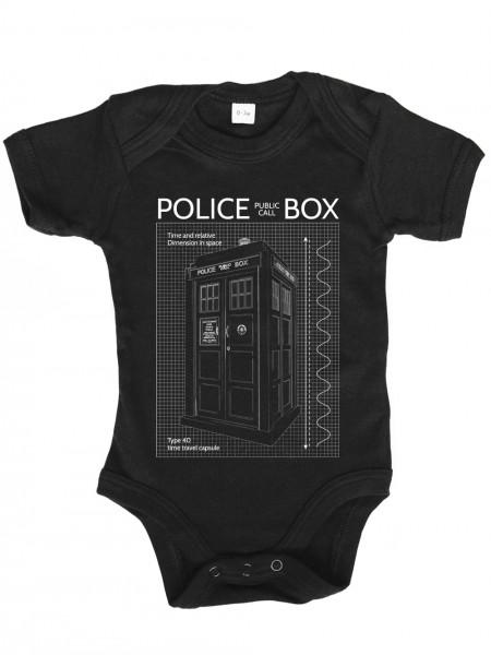 clothinx Baby Body Unisex Police Box Blueprint