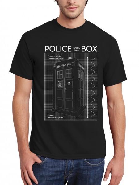 clothinx Herren T-Shirt Police Box Blueprint