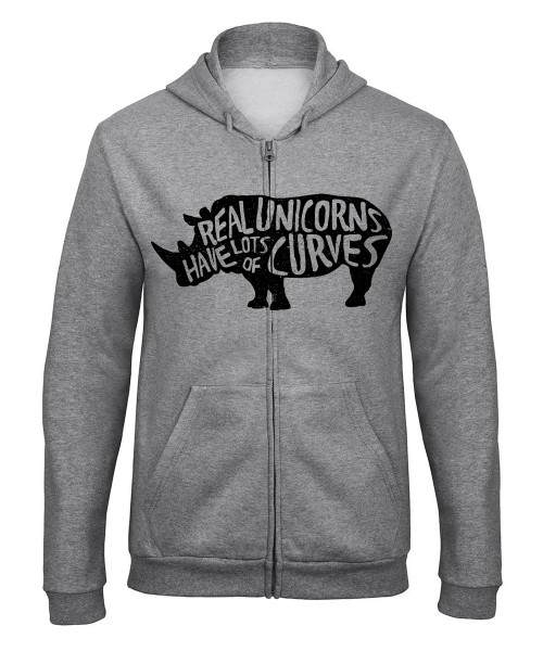 -- Real Unicorns have curves -- Unisex Zip Pullover