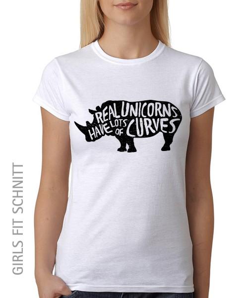 -- Real Unicorns have curves -- Girls T-Shirt auch im Unisex Schnitt