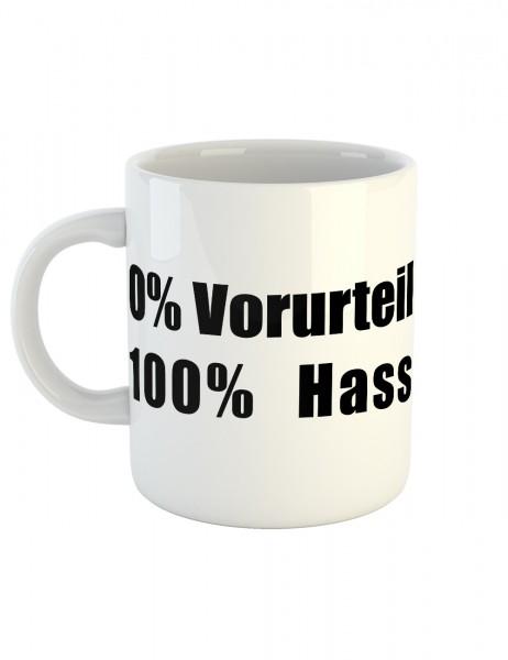 clothinx Kaffeetasse mit Aufdruck 0% Vorurteil 100% Hass