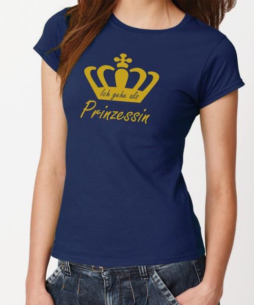 -- Ich gehe als Prinzessin -- Girls T-Shirt, Motiv Gold
