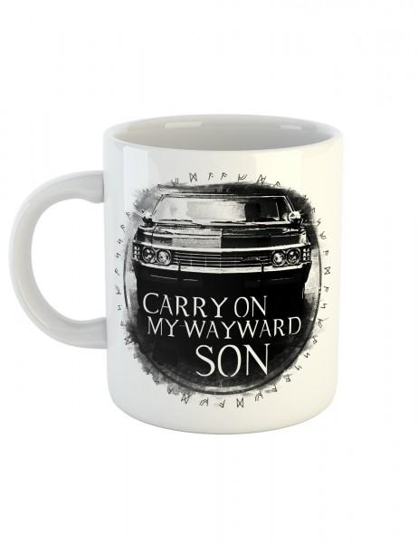 clothinx Kaffeetasse mit Aufdruck Carry On Wayward Son