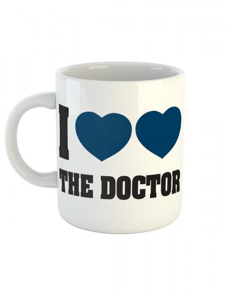 clothinx Kaffeetasse mit Aufdruck I Heart Heart The Doctor