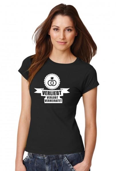 ::: VERLIEBT, VERLOBT, VERHEIRATET ::: T-Shirt JGA ::: Damen